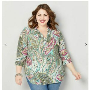 Sz 26/28 pull over shirt with buttons